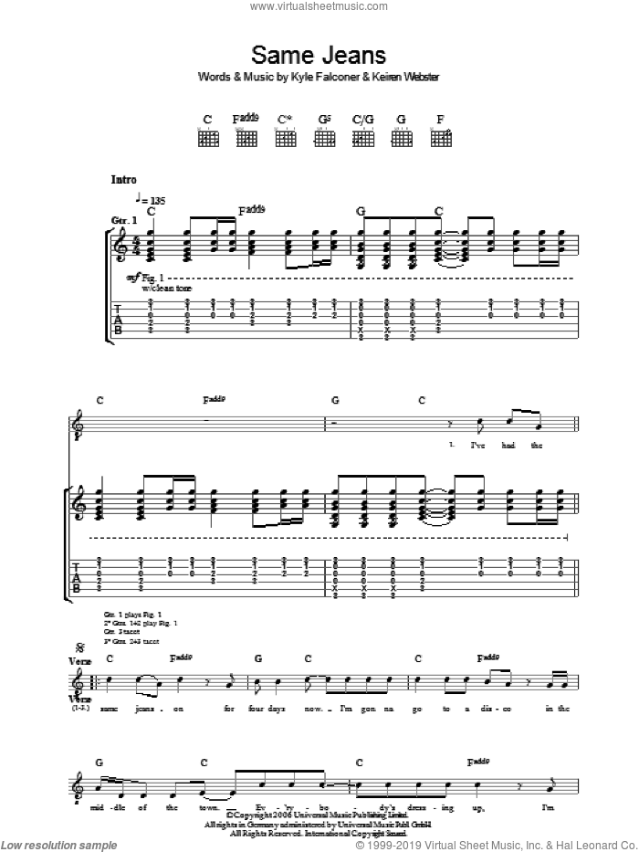 Same Jeans sheet music for guitar (tablature) by Keiren Webster and Kyle Falconer. Score Image Preview.