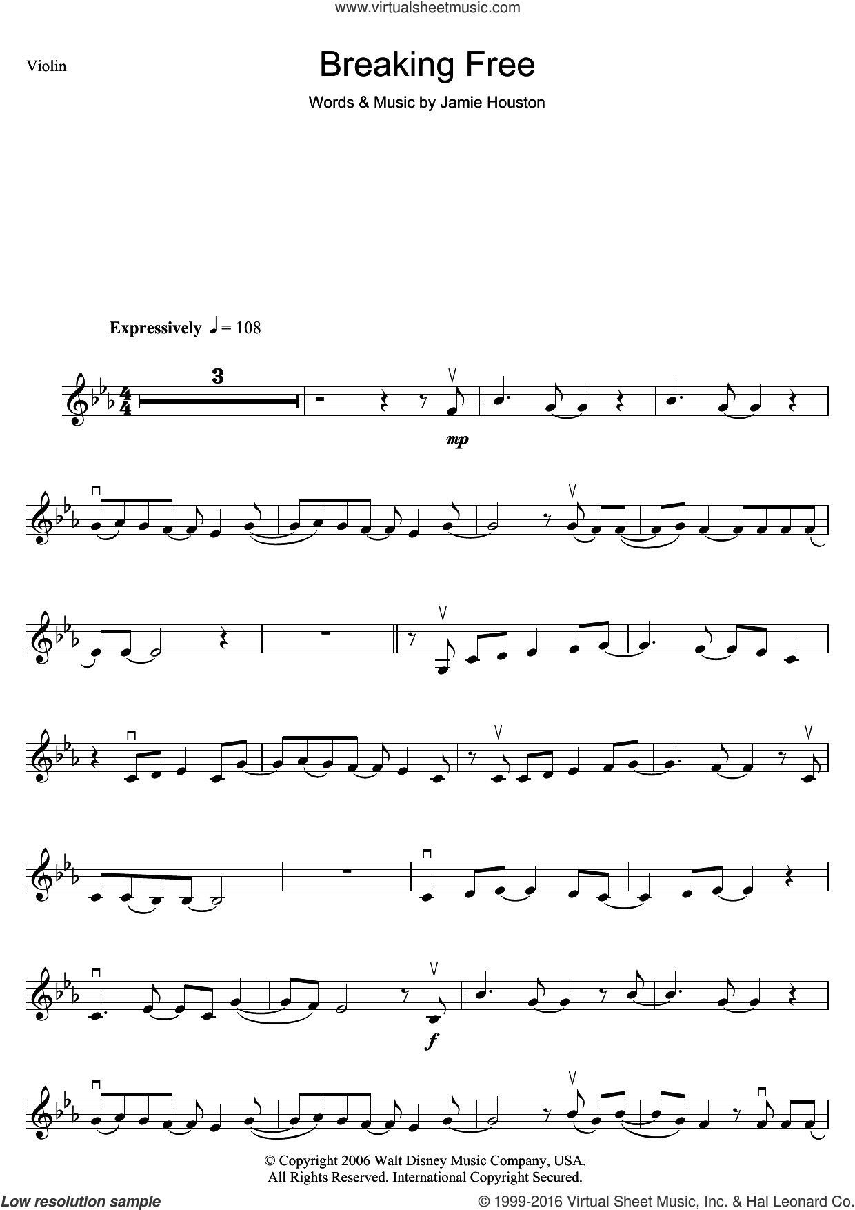 Breaking Free (from High School Musical) sheet music for violin solo by Jamie Houston, Vanessa Hudgens and Zac Efron, intermediate skill level