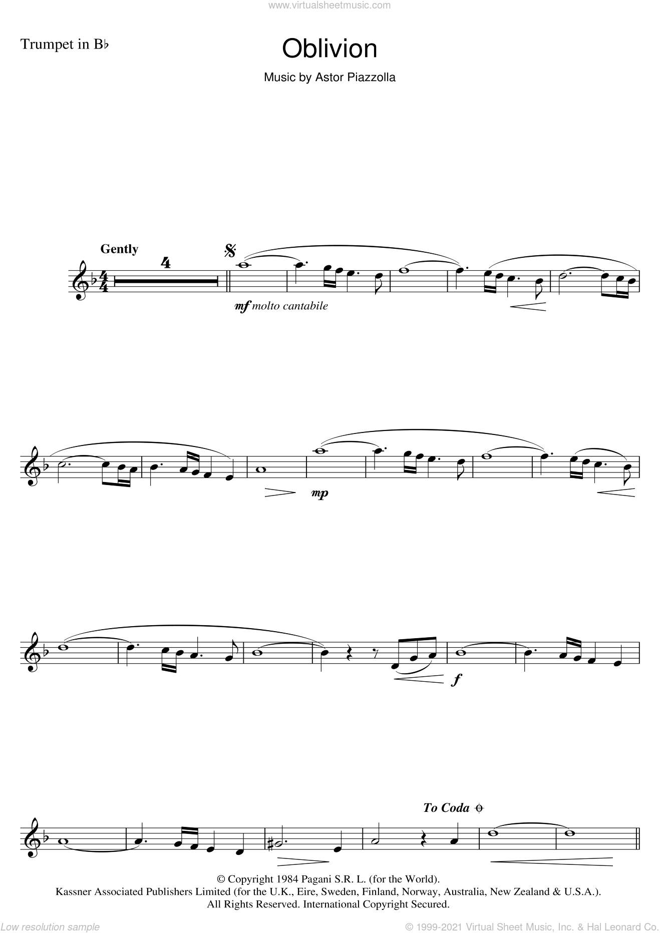 Piazzolla - Oblivion sheet music for trumpet solo [PDF]