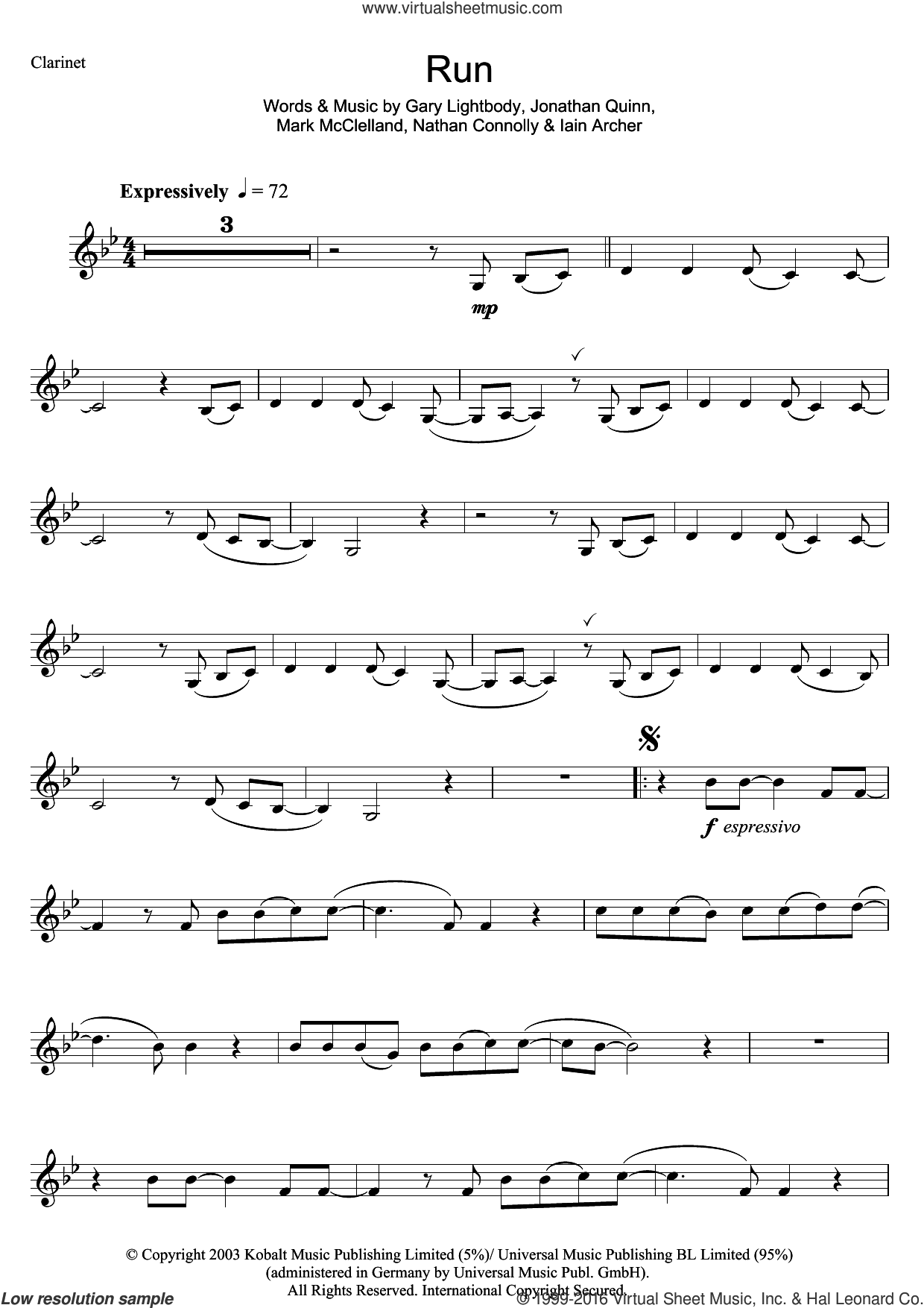 Run sheet music for clarinet solo by Leona Lewis, Gary Lightbody, Iain Archer, Jonathan Quinn, Mark McClelland and Nathan Connolly, intermediate skill level