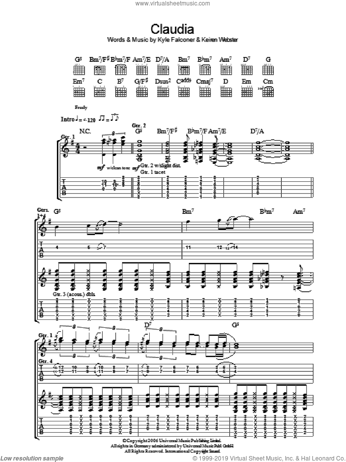 Claudia sheet music for guitar (tablature) by The View, Keiren Webster and Kyle Falconer, intermediate skill level