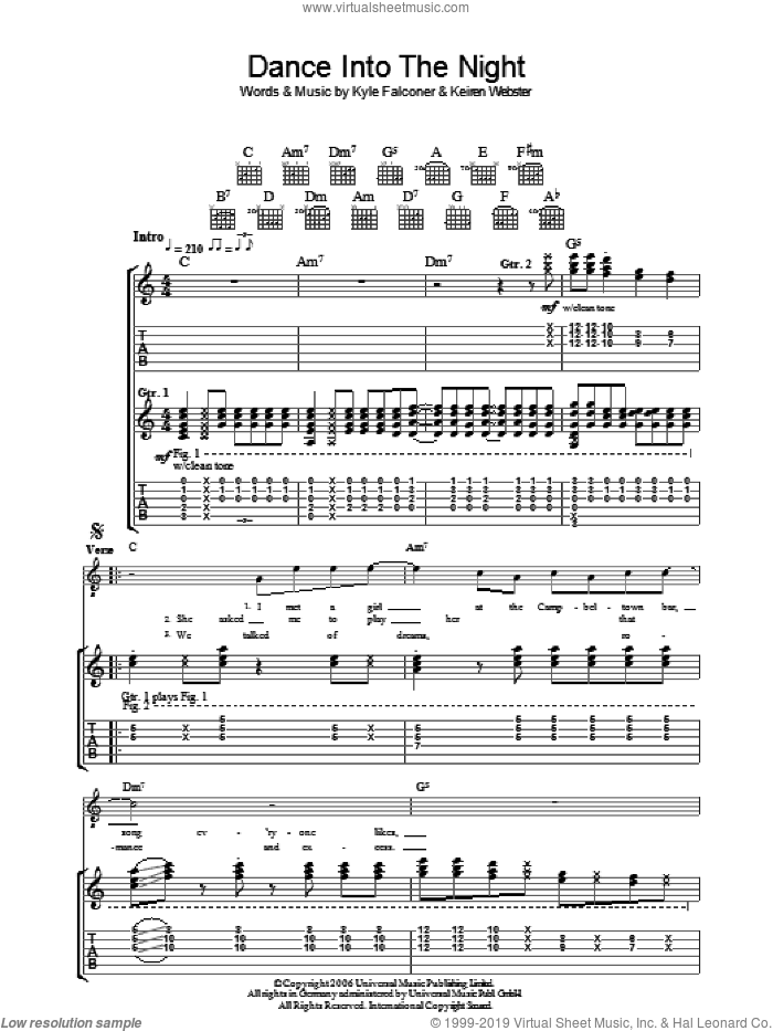 Dance Into The Night sheet music for guitar (tablature) by The View, intermediate. Score Image Preview.