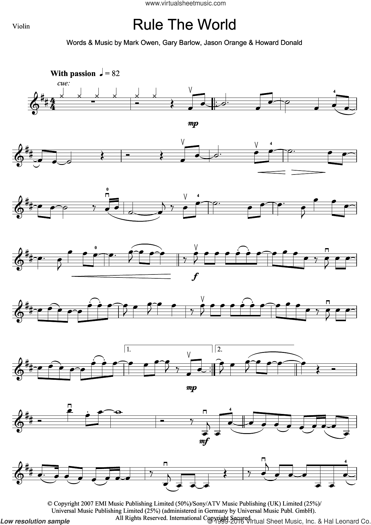 Rule The World (from Stardust) sheet music for violin solo by Take That, Gary Barlow, Howard Donald, Jason Orange and Mark Owen, intermediate skill level