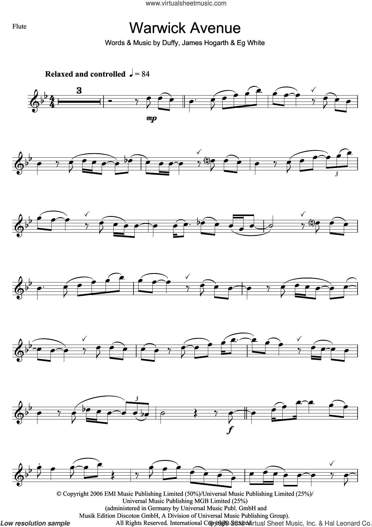 Warwick Avenue sheet music for flute solo by Duffy, Aimee Duffy, Francis White and James Hogarth, intermediate skill level