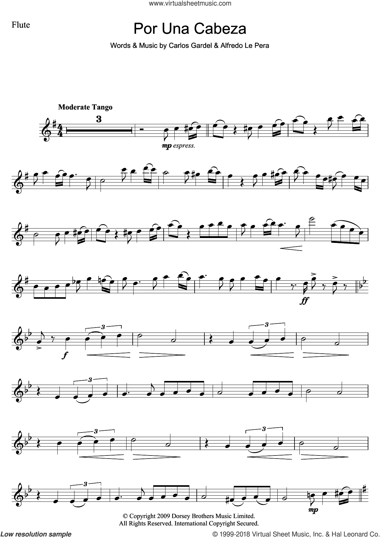 Por Una Cabeza sheet music for flute solo by Carlos Gardel and Alfredo Le Pera, intermediate skill level