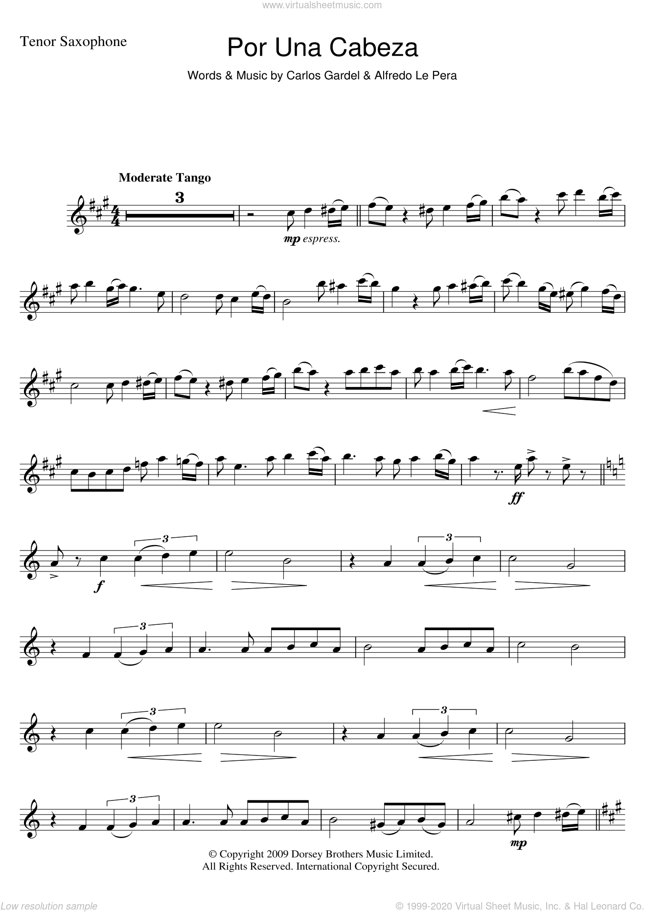 Por Una Cabeza sheet music for tenor saxophone solo by Carlos Gardel and Alfredo Le Pera, intermediate. Score Image Preview.