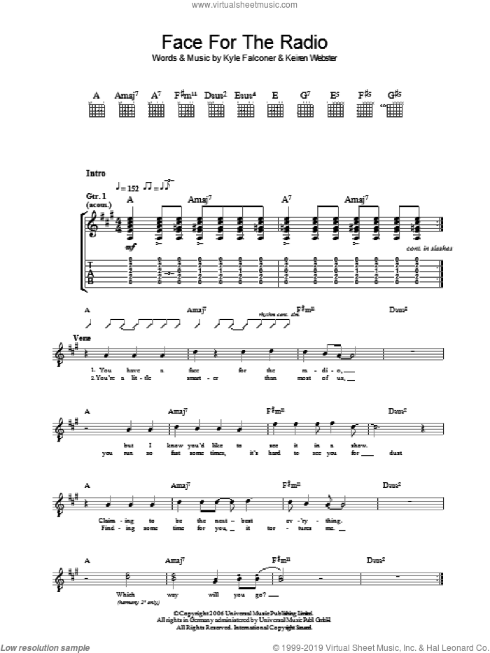 Face For The Radio sheet music for guitar (tablature) by The View, intermediate guitar (tablature). Score Image Preview.