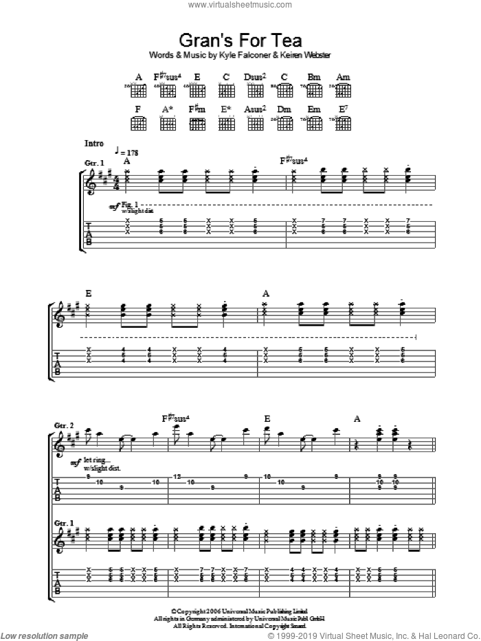 Gran's For Tea sheet music for guitar (tablature) by Keiren Webster and Kyle Falconer. Score Image Preview.