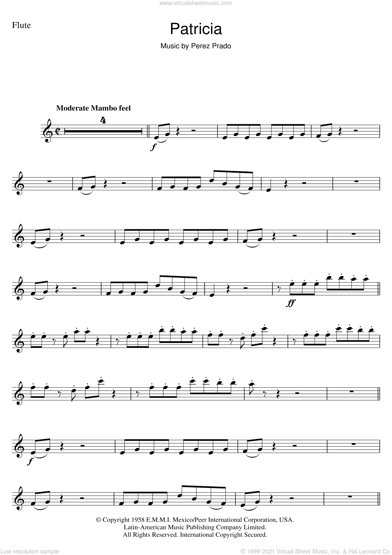 Patricia sheet music for flute solo by Perez Prado. Score Image Preview.