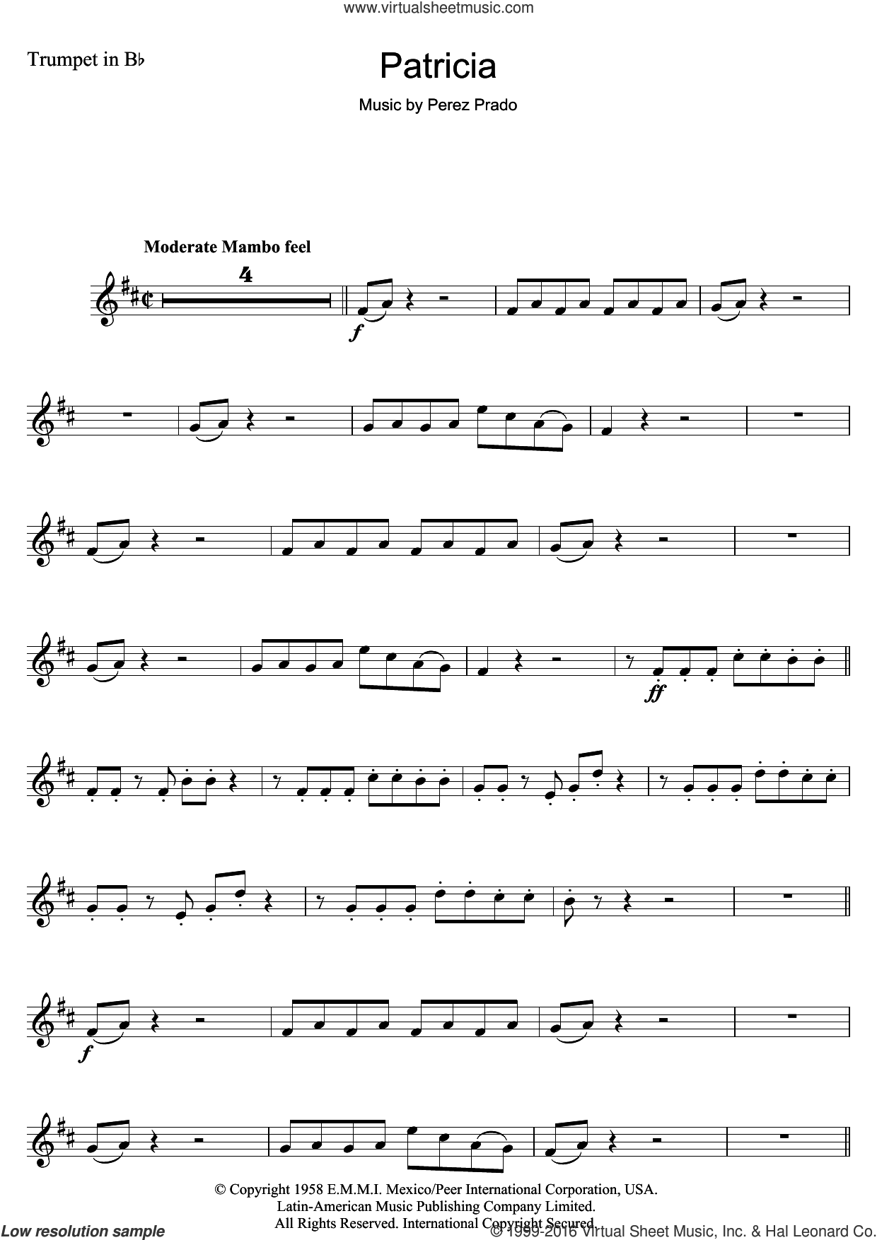 Patricia sheet music for trumpet solo by Perez Prado, intermediate