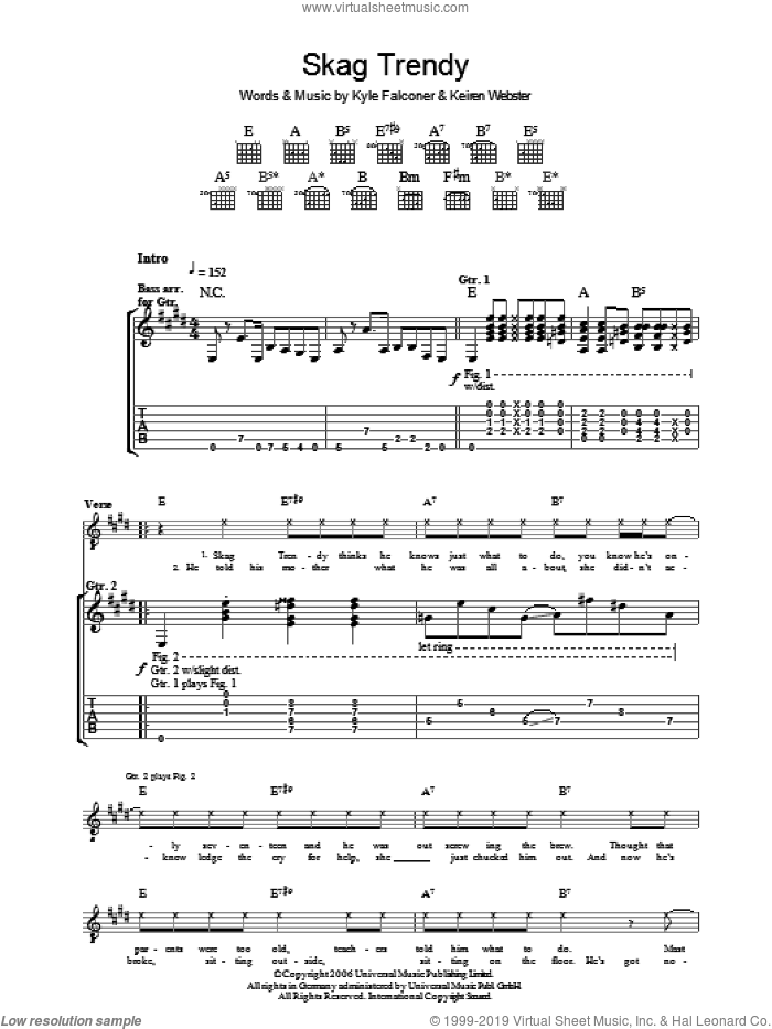 Skag Trendy sheet music for guitar (tablature) by Keiren Webster and Kyle Falconer. Score Image Preview.