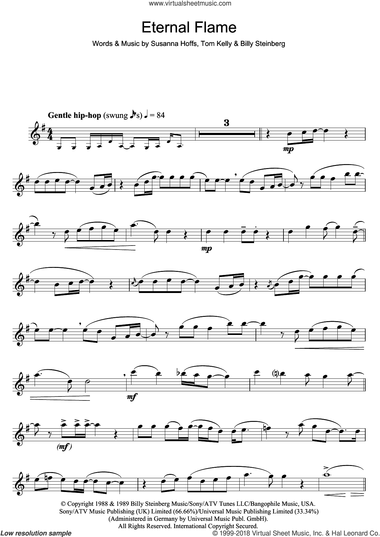Eternal Flame sheet music for flute solo by Atomic Kitten, Billy Steinberg and Tom Kelly, intermediate. Score Image Preview.