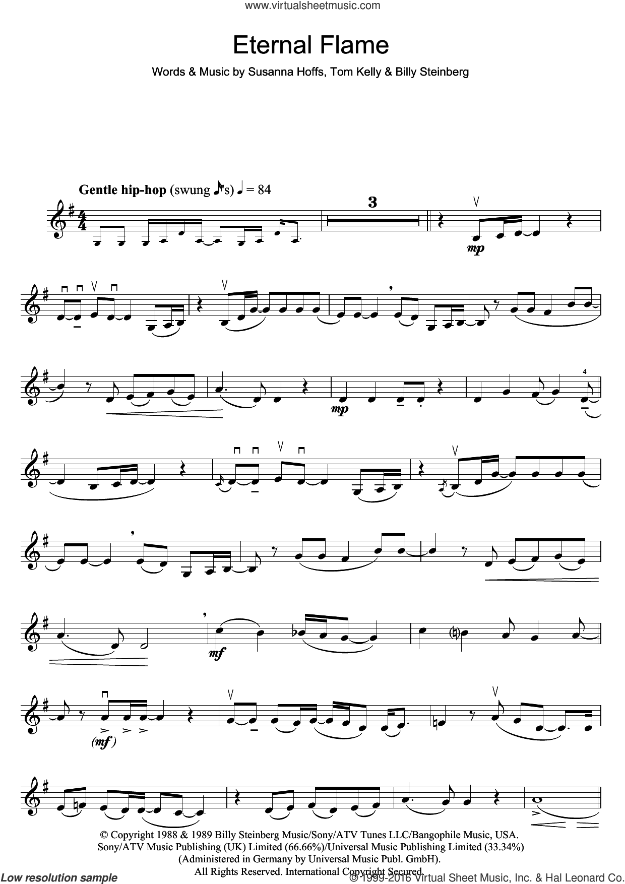 Eternal Flame sheet music for violin solo by Atomic Kitten, Billy Steinberg, Susanna Hoffs and Tom Kelly, intermediate skill level