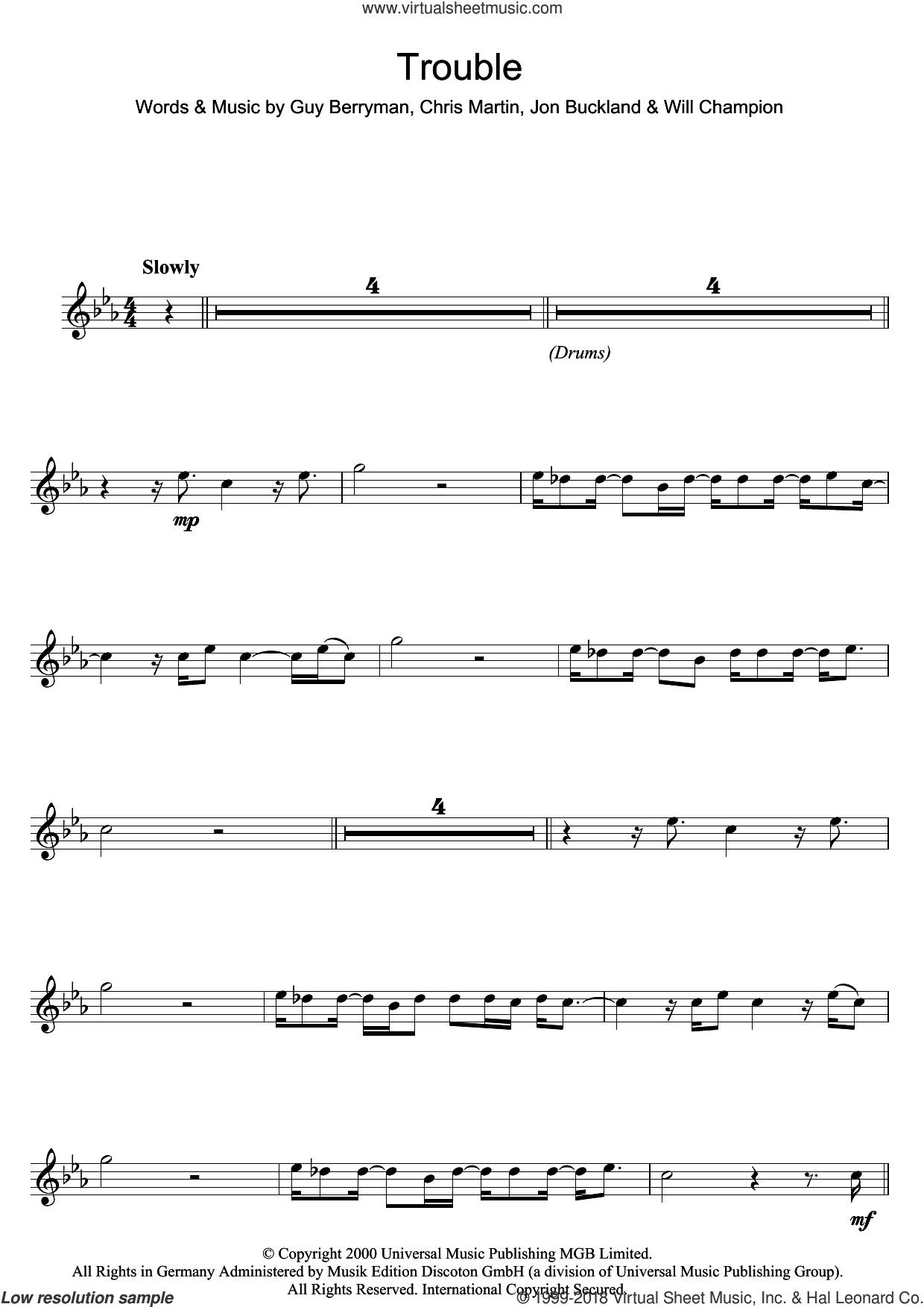 Trouble sheet music for flute solo by Will Champion, Coldplay, Chris Martin and Guy Berryman. Score Image Preview.