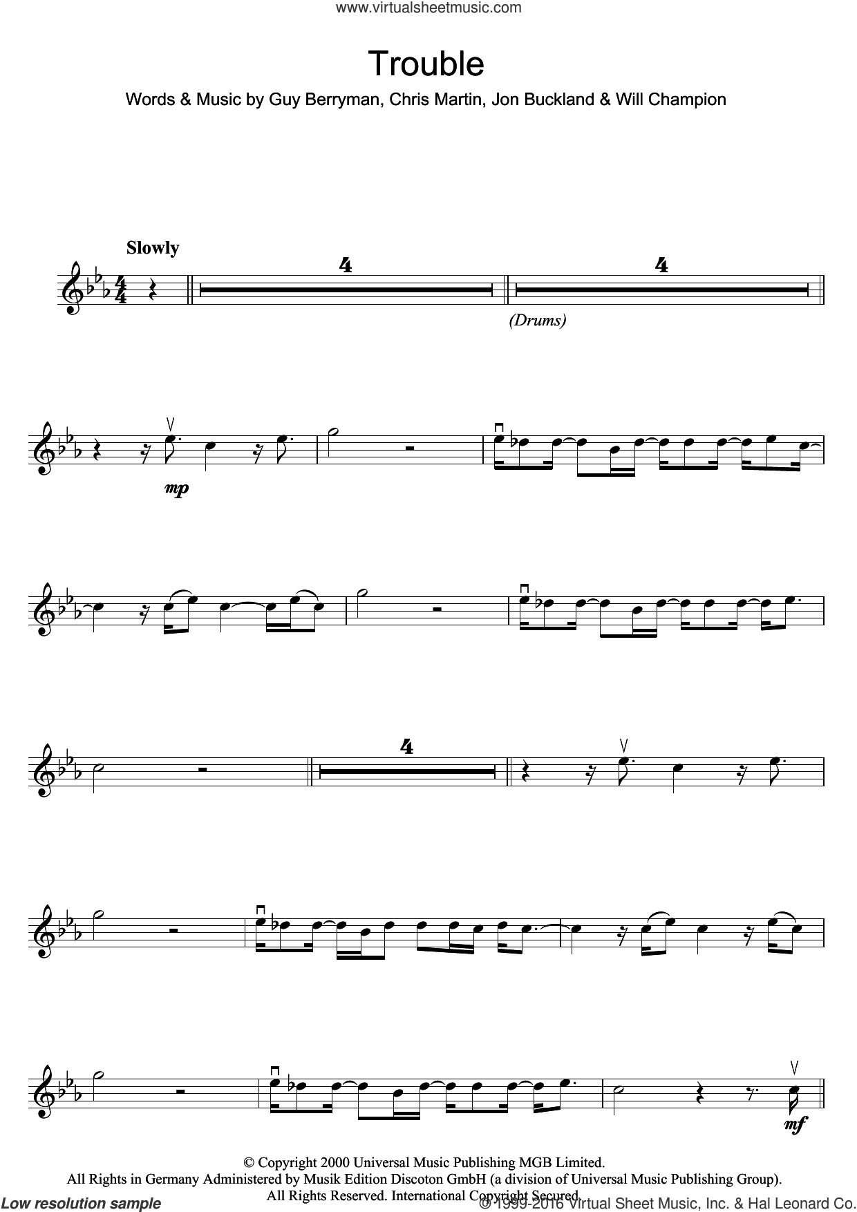 Trouble sheet music for violin solo by Coldplay, Chris Martin, Guy Berryman, Jonny Buckland and Will Champion, intermediate skill level