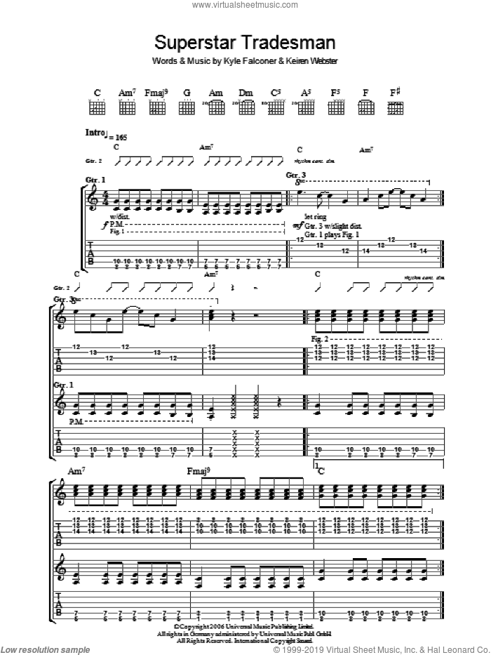 Superstar Tradesman sheet music for guitar (tablature) by Keiren Webster and Kyle Falconer. Score Image Preview.