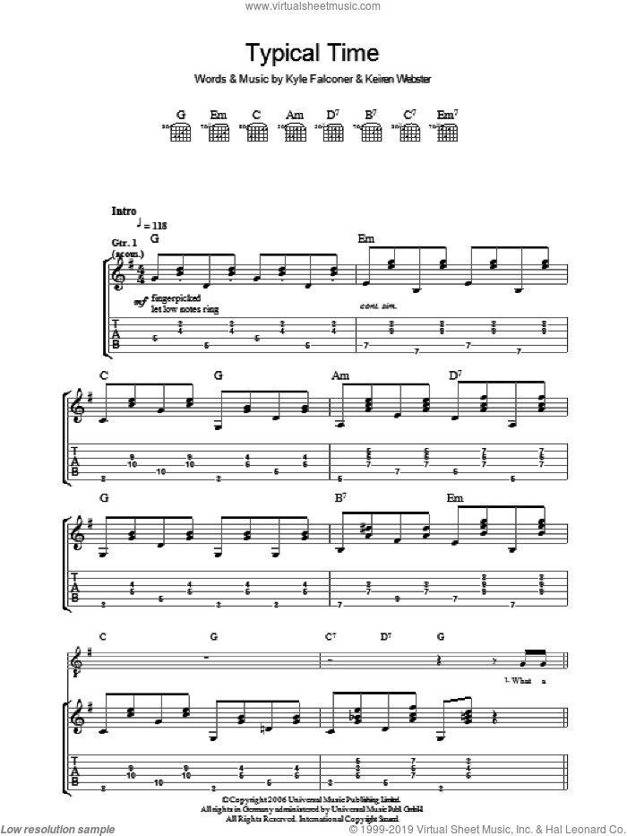 Typical Time sheet music for guitar (tablature) by Keiren Webster and Kyle Falconer. Score Image Preview.