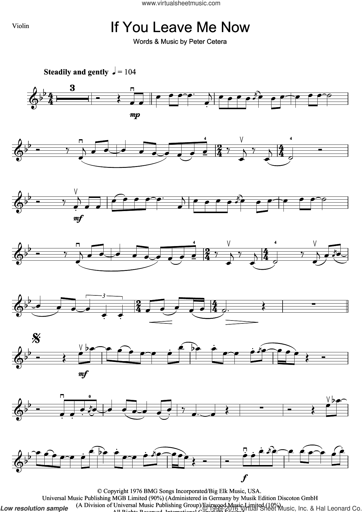 Chicago - If You Leave Me Now sheet music for violin solo [PDF]