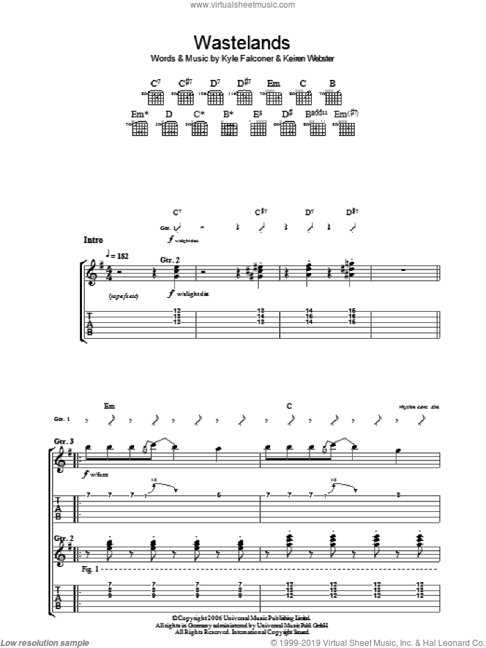 Wasteland sheet music for guitar (tablature) by The View. Score Image Preview.