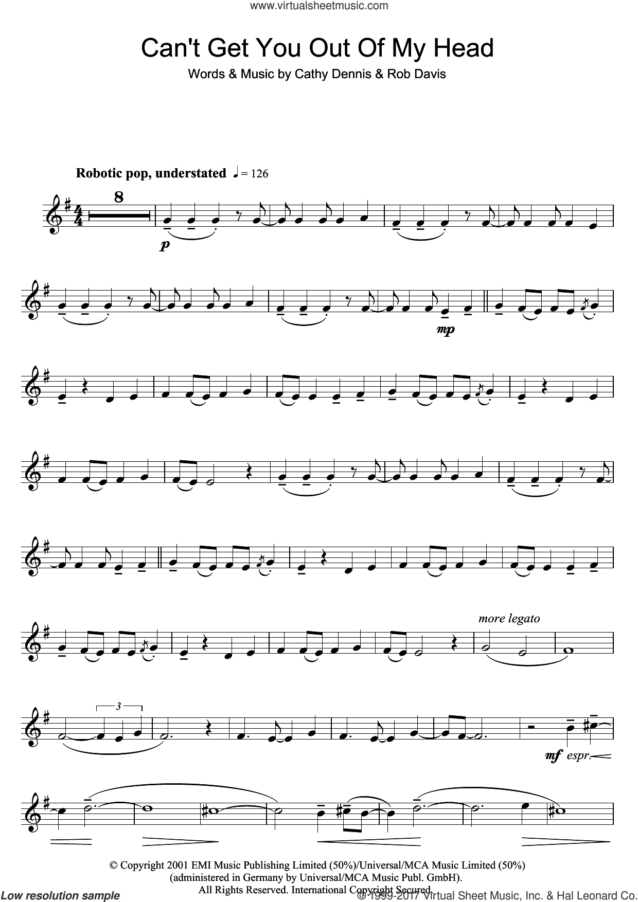 Can't Get You Out Of My Head sheet music for clarinet solo by Kylie Minogue, Cathy Dennis and Rob Davis, intermediate skill level