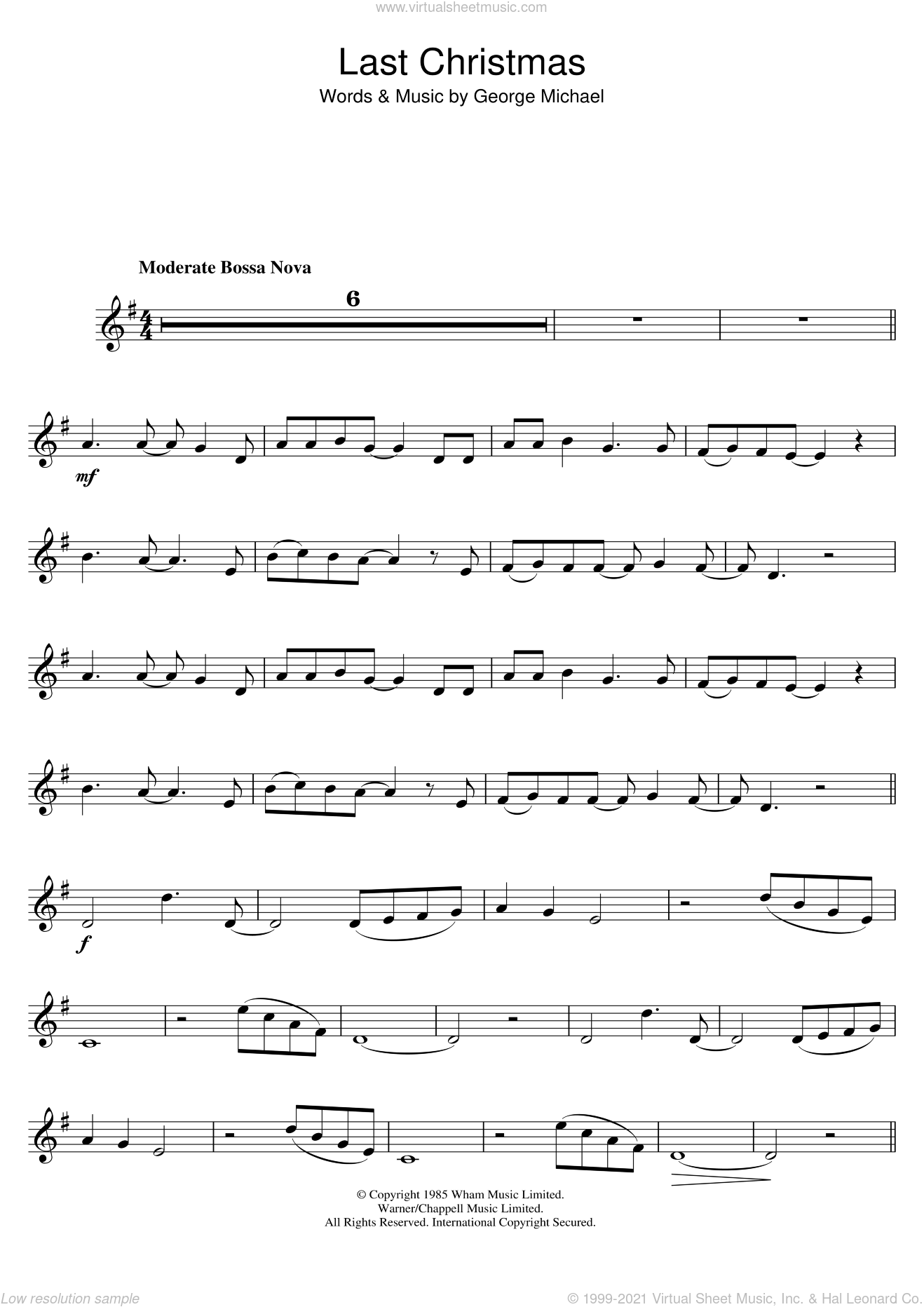 Wham! - Last Christmas sheet music for trumpet solo [PDF]