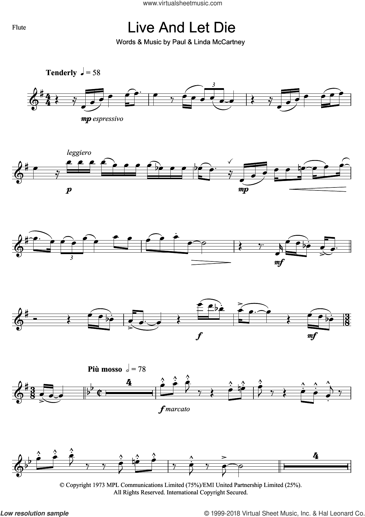 Live And Let Die sheet music for flute solo by Wings, Linda McCartney and Paul McCartney, intermediate. Score Image Preview.