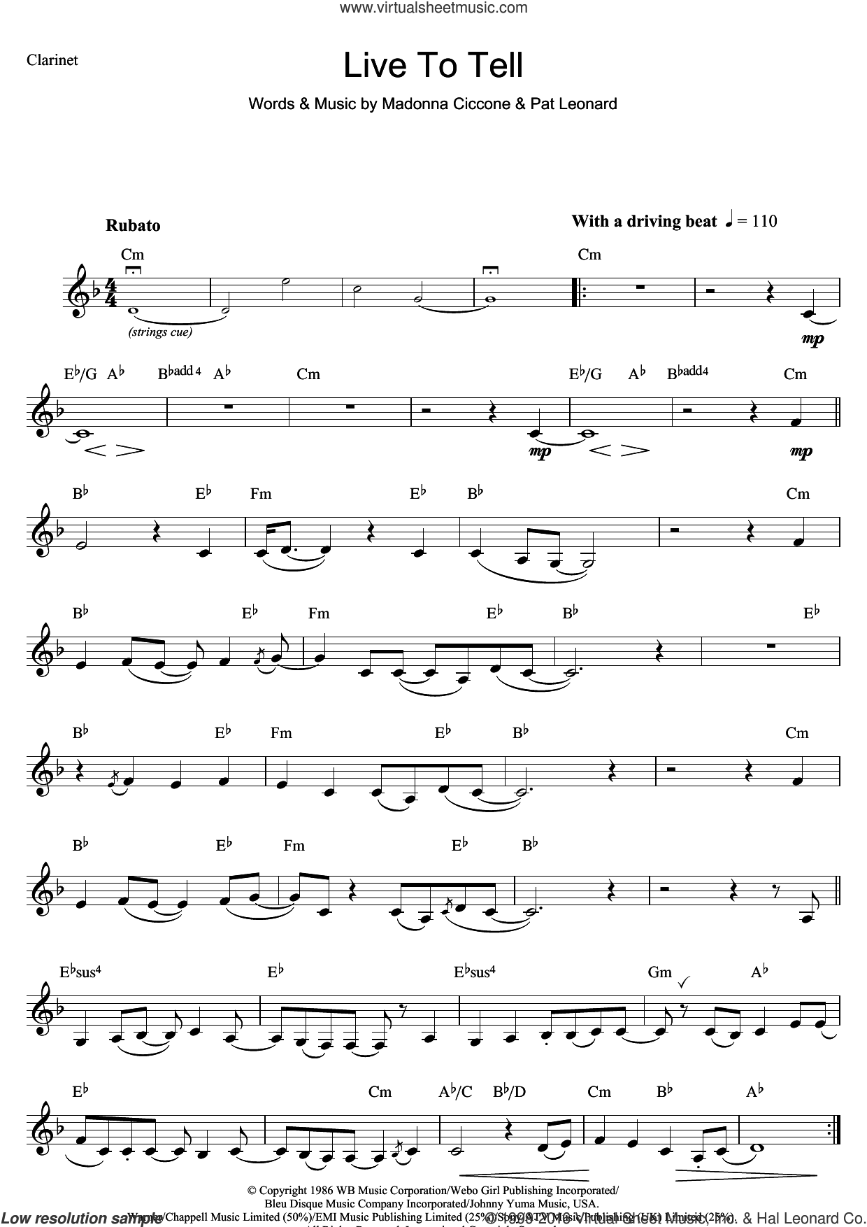 Live To Tell sheet music for clarinet solo by Madonna and Patrick Leonard, intermediate skill level