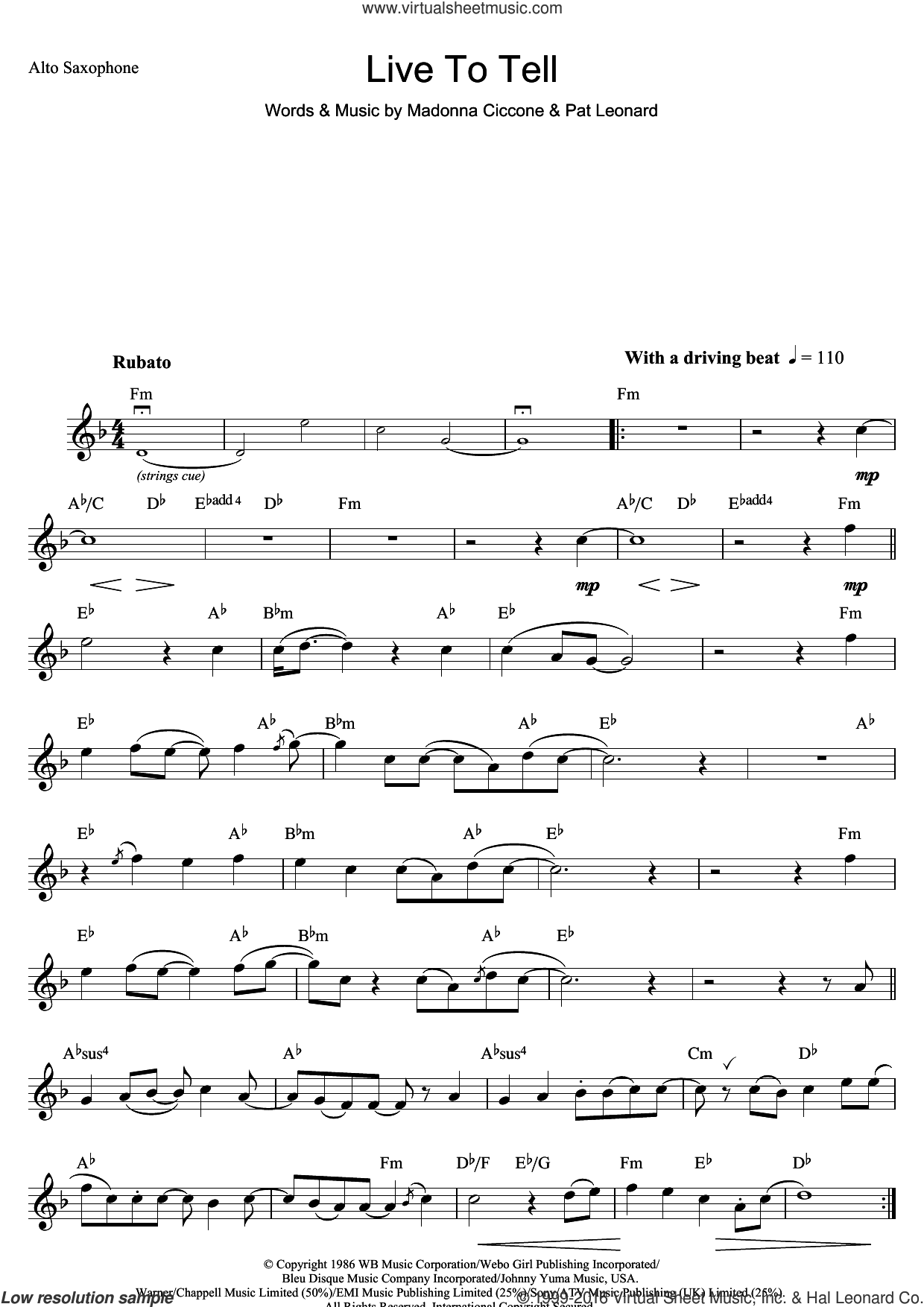 Live To Tell sheet music for saxophone solo by Madonna and Patrick Leonard, intermediate