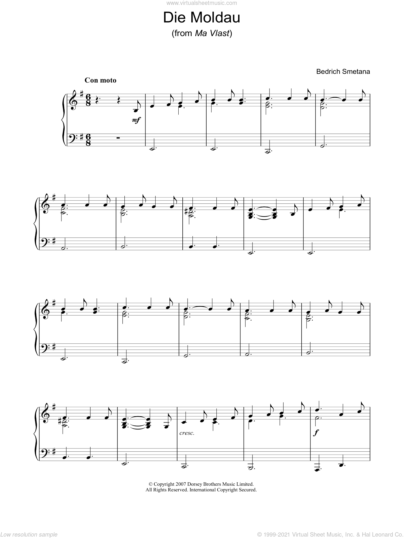 Die Moldau (from Ma Vlast) sheet music for voice, piano or guitar by Bedrich Smetana, classical score, intermediate. Score Image Preview.