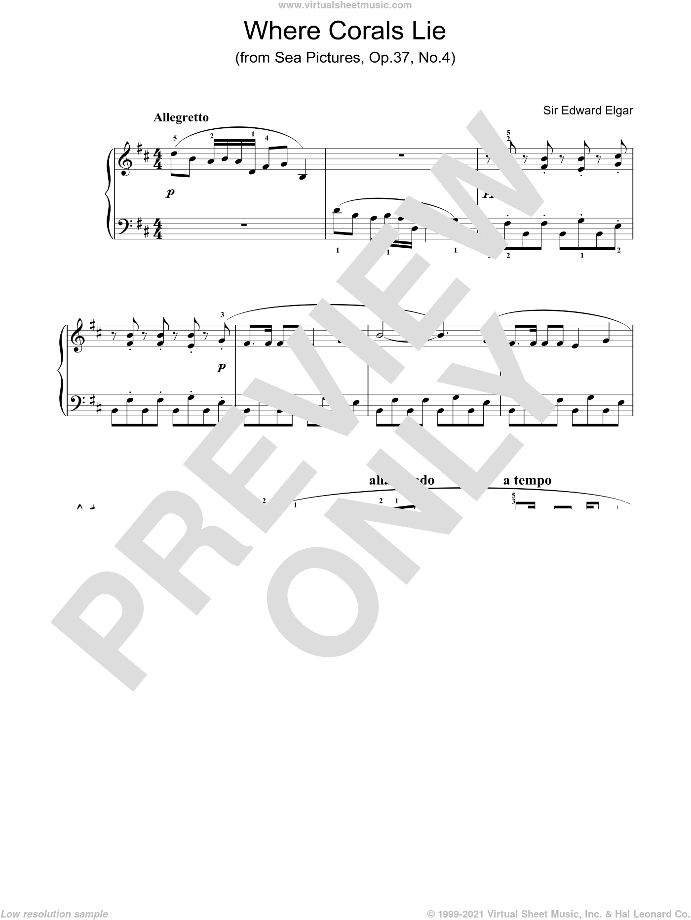 Where Corals Lie (from Sea Pictures, Op.37, No.4) sheet music for piano solo by Edward Elgar. Score Image Preview.