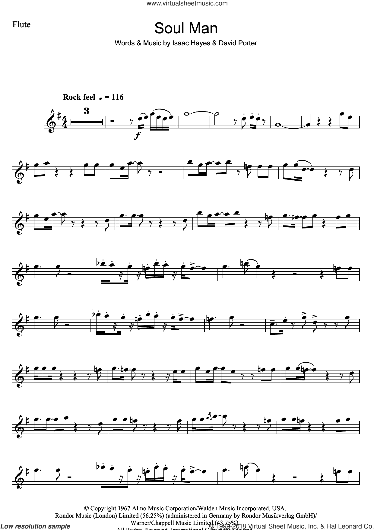 Soul Man sheet music for flute solo by Sam & Dave, David Porter and Isaac Hayes, intermediate skill level