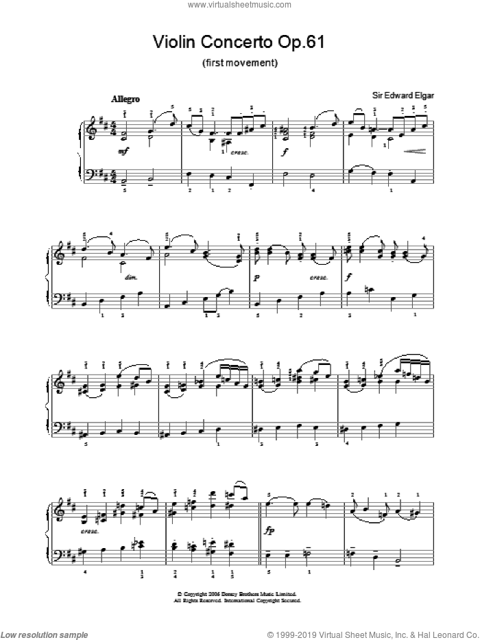 Violin Concerto Op.61 (first movement) sheet music for voice, piano or guitar by Edward Elgar. Score Image Preview.