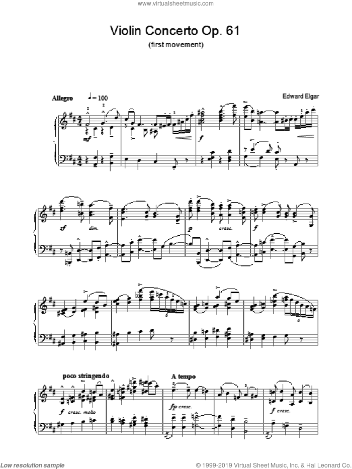 Violin Concerto Op.61 (first movement) sheet music for piano solo by Edward Elgar. Score Image Preview.
