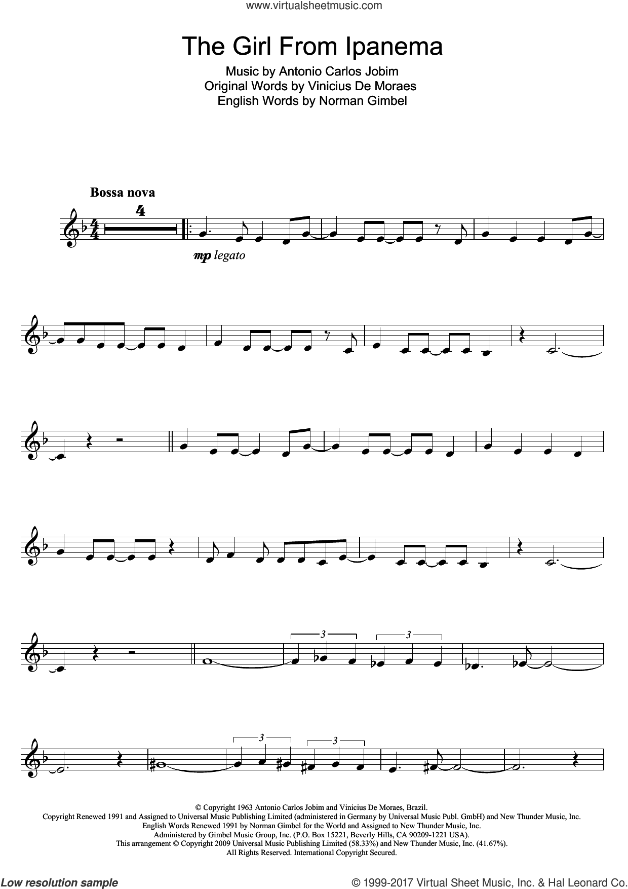 The Girl From Ipanema (Garota De Ipanema) sheet music for clarinet solo by Antonio Carlos Jobim, Norman Gimbel and Vinicius de Moraes, intermediate skill level