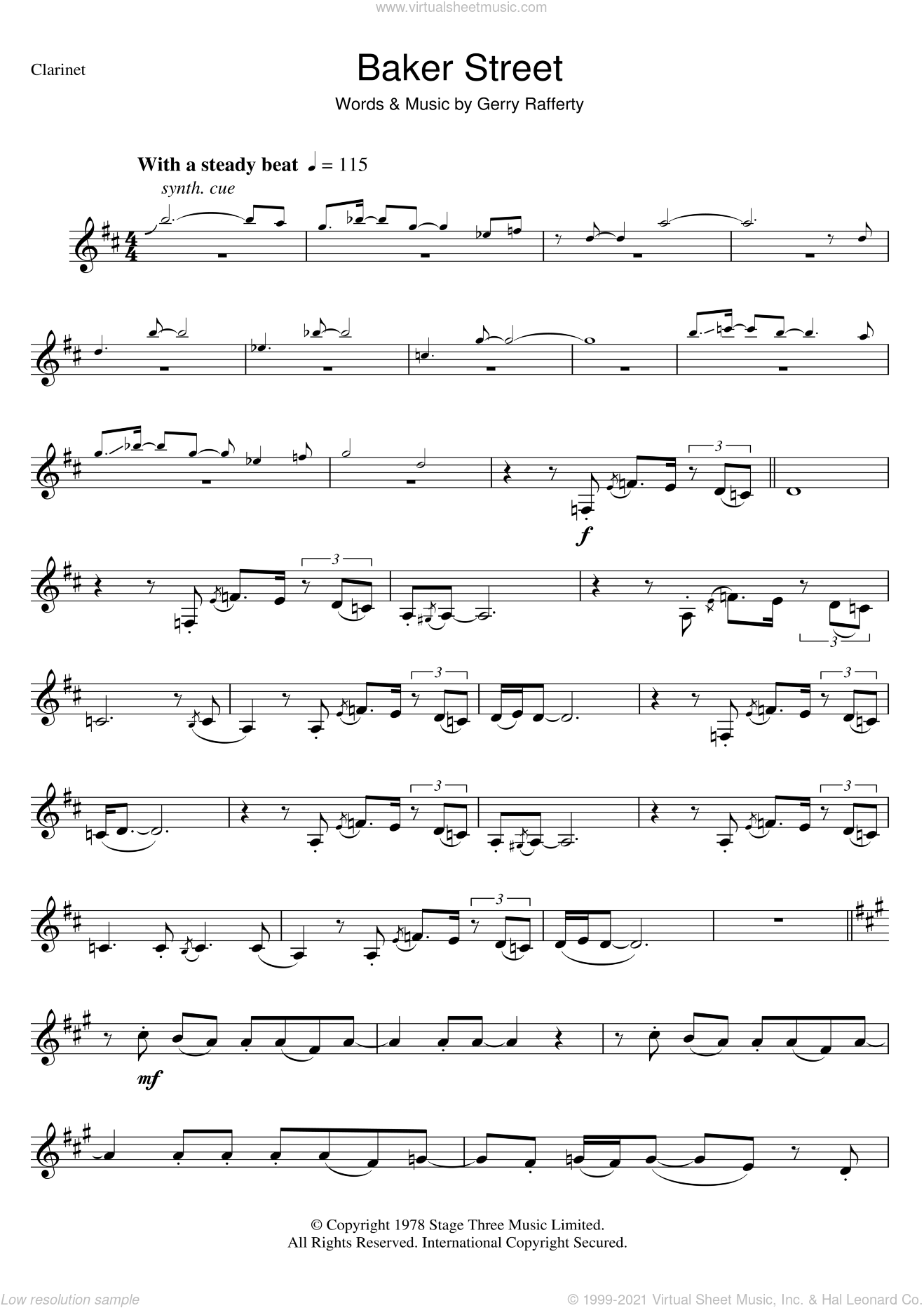 Rafferty Baker Street Sheet Music For Clarinet Solo Pdf