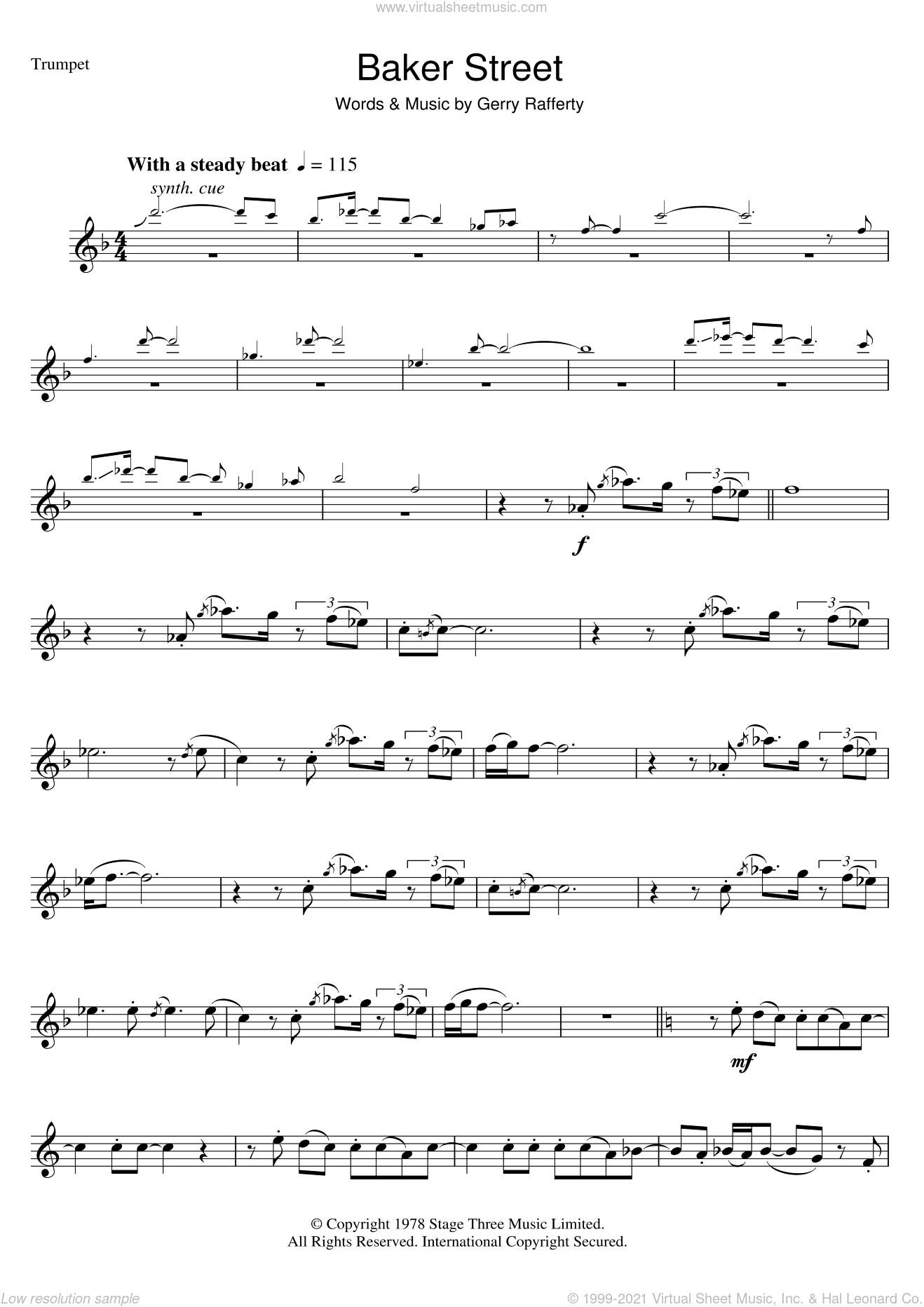 Baker Street sheet music for trumpet solo by Gerry Rafferty, intermediate trumpet. Score Image Preview.