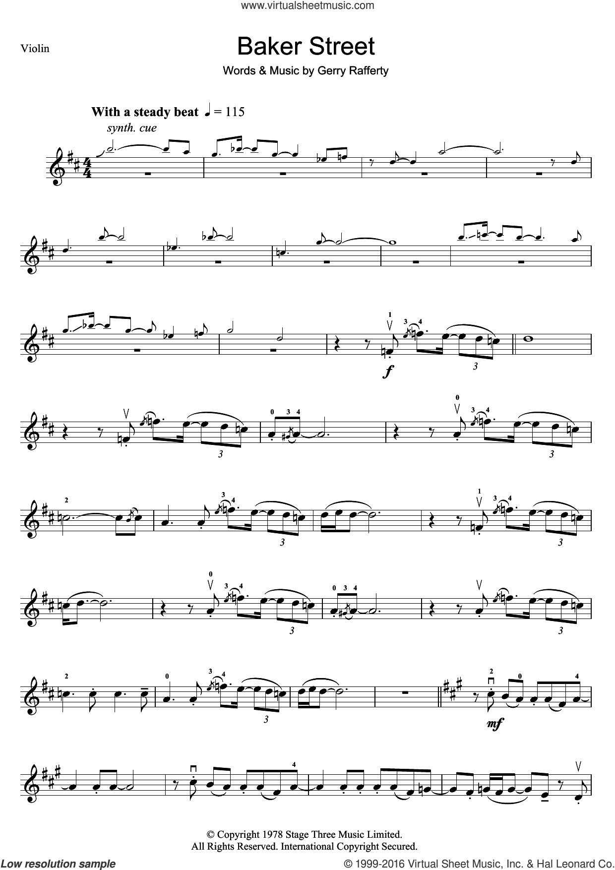 Baker Street sheet music for violin solo by Gerry Rafferty. Score Image Preview.