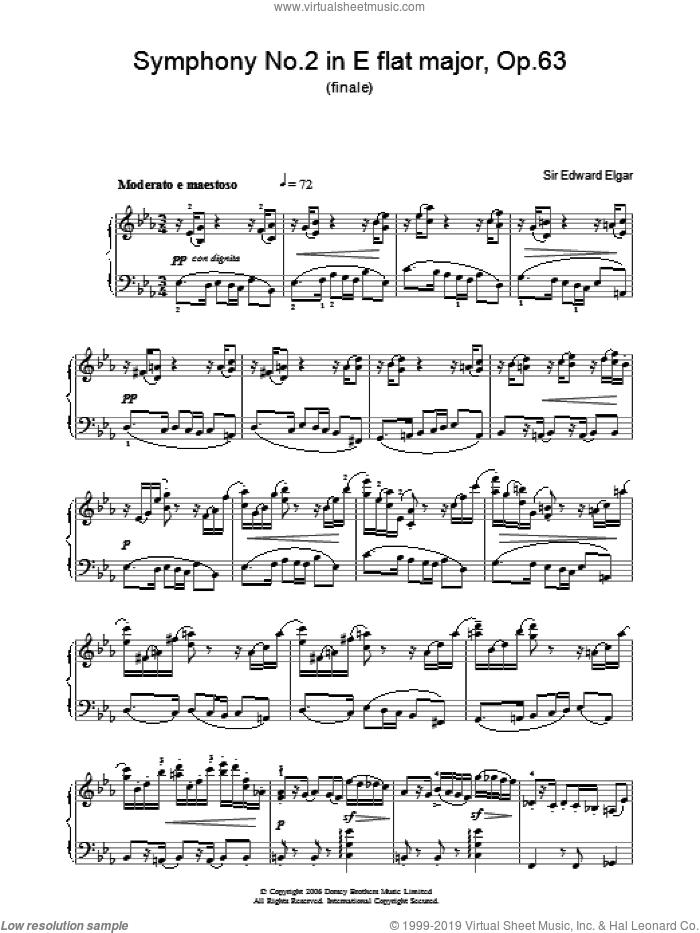 Symphony No.2 In E Flat Major, Op.63 (finale) sheet music for piano solo by Edward Elgar, classical score, intermediate skill level