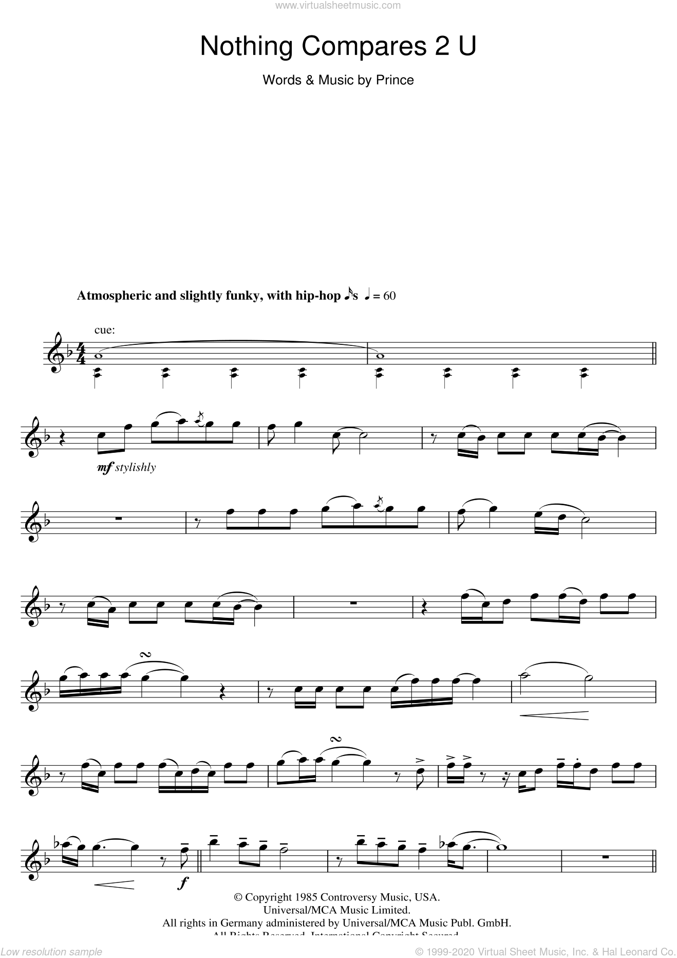 Nothing Compares 2 U sheet music for flute solo by Sinead O'Connor and Prince, intermediate skill level