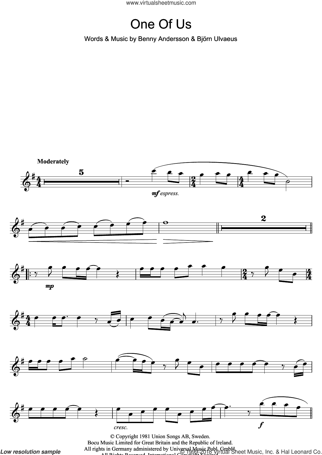 One Of Us sheet music for flute solo by ABBA, Benny Andersson and Bjorn Ulvaeus, intermediate skill level