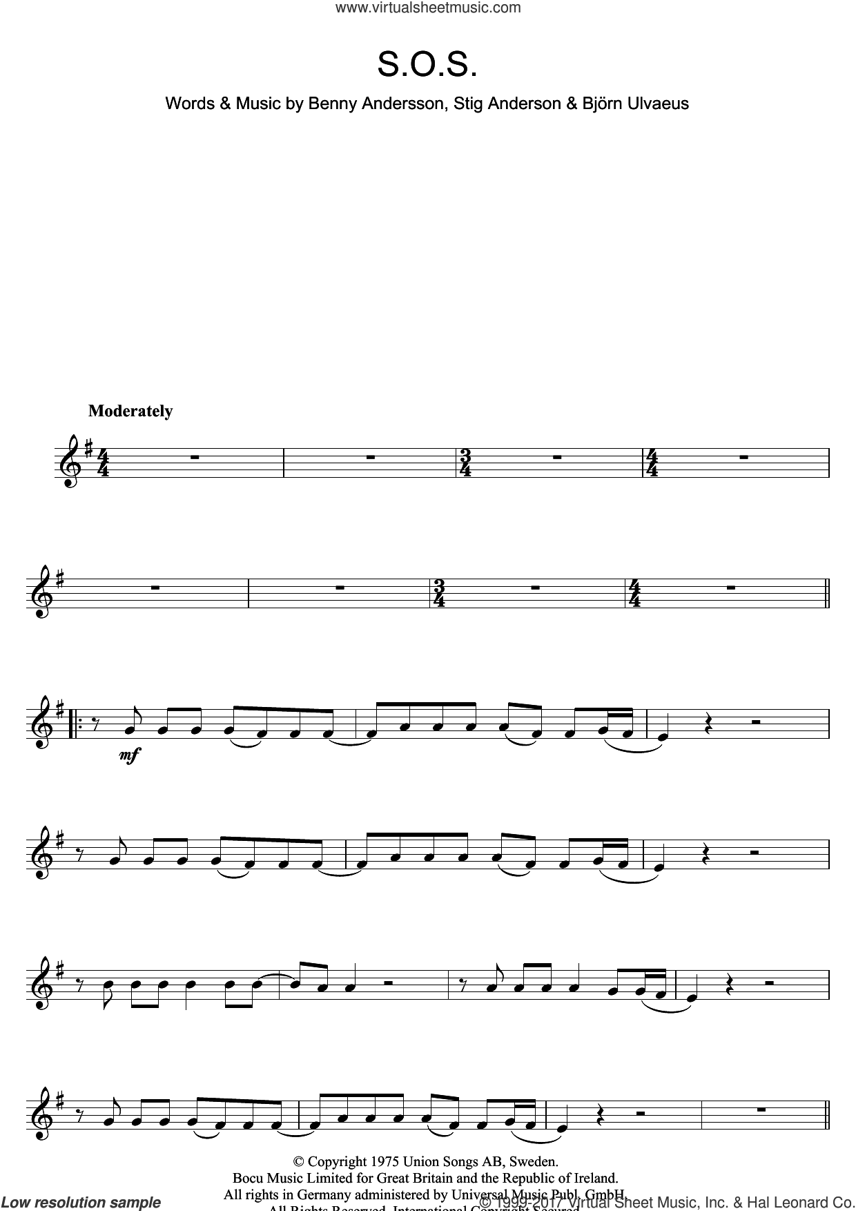 S.O.S. sheet music for clarinet solo by ABBA, Benny Andersson, Bjorn Ulvaeus and Stig Anderson, intermediate skill level