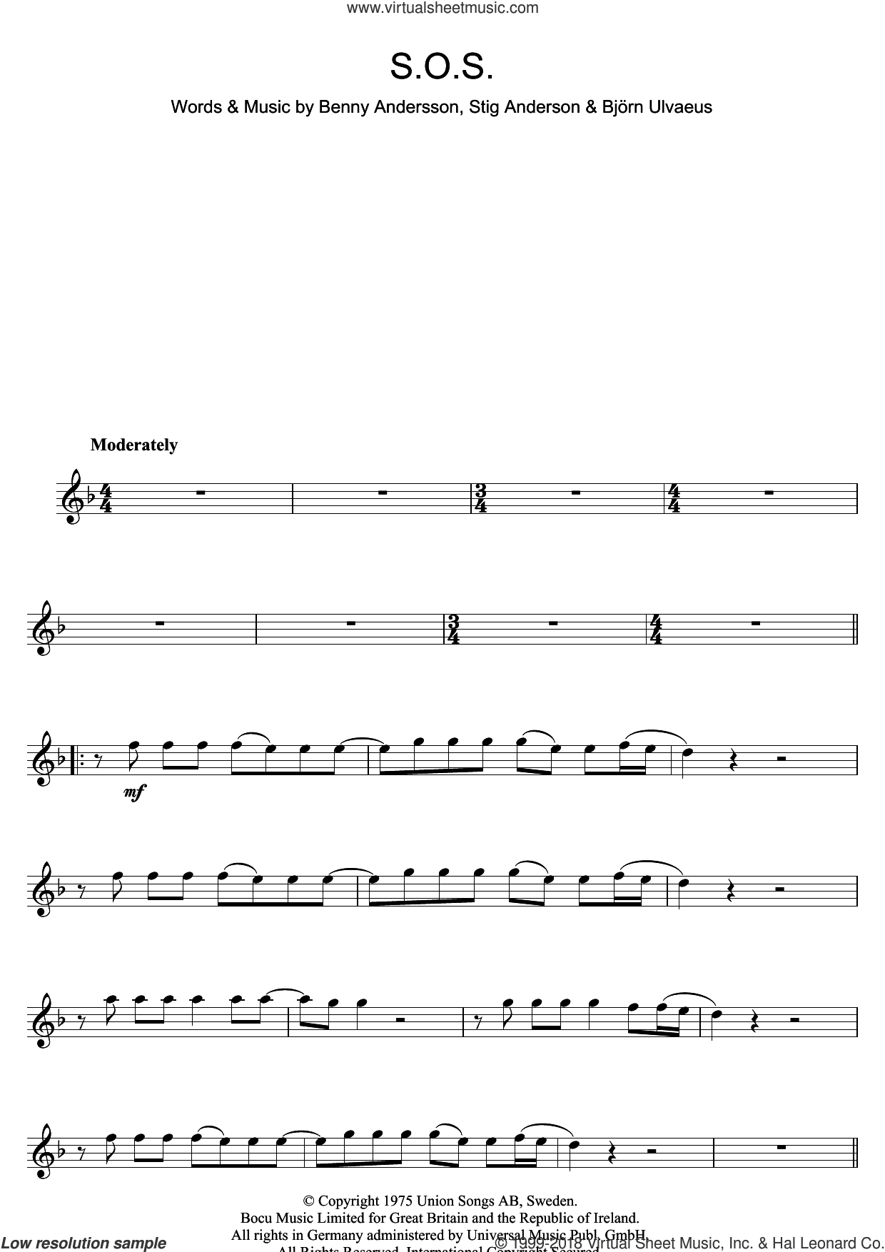 S.O.S. sheet music for flute solo by ABBA, Benny Andersson, Bjorn Ulvaeus and Stig Anderson, intermediate skill level
