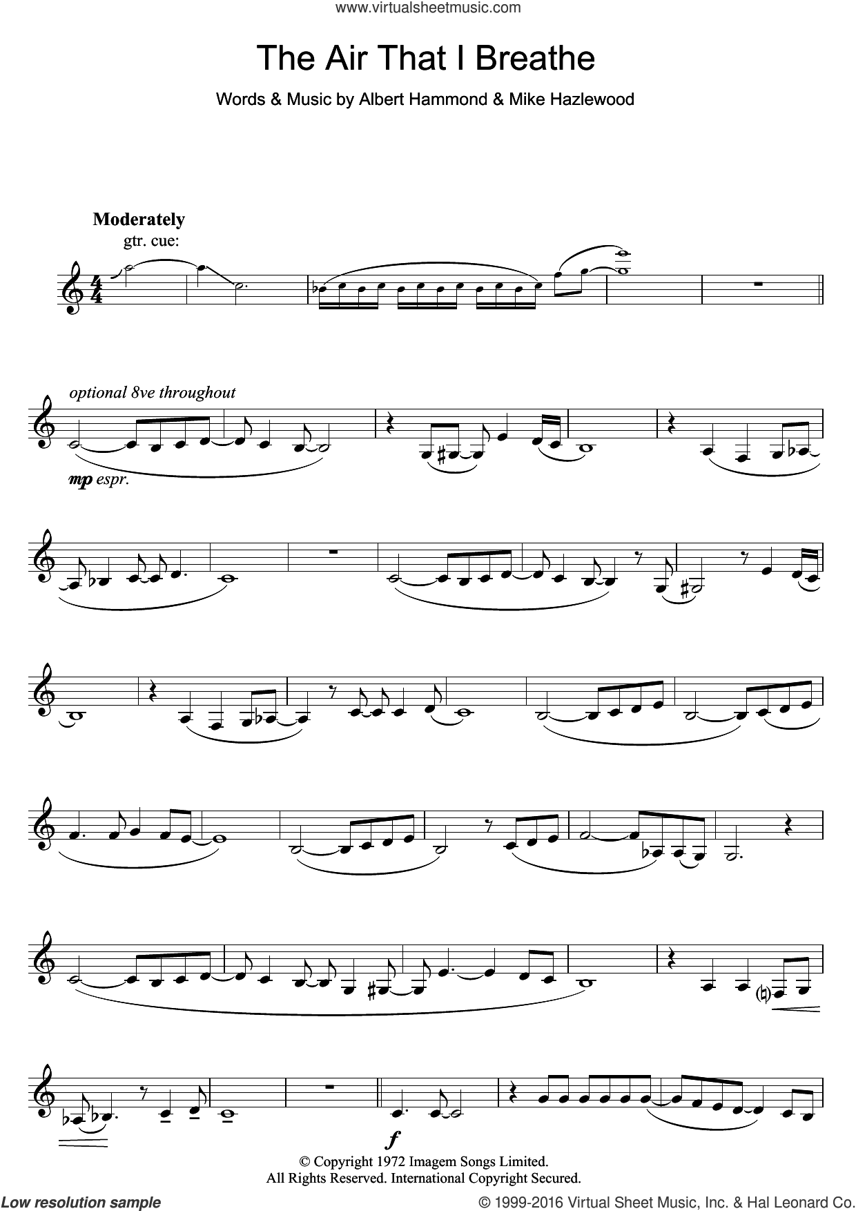 The Air That I Breathe sheet music for clarinet solo by The Hollies, Albert Hammond and Michael Hazlewood, intermediate clarinet. Score Image Preview.