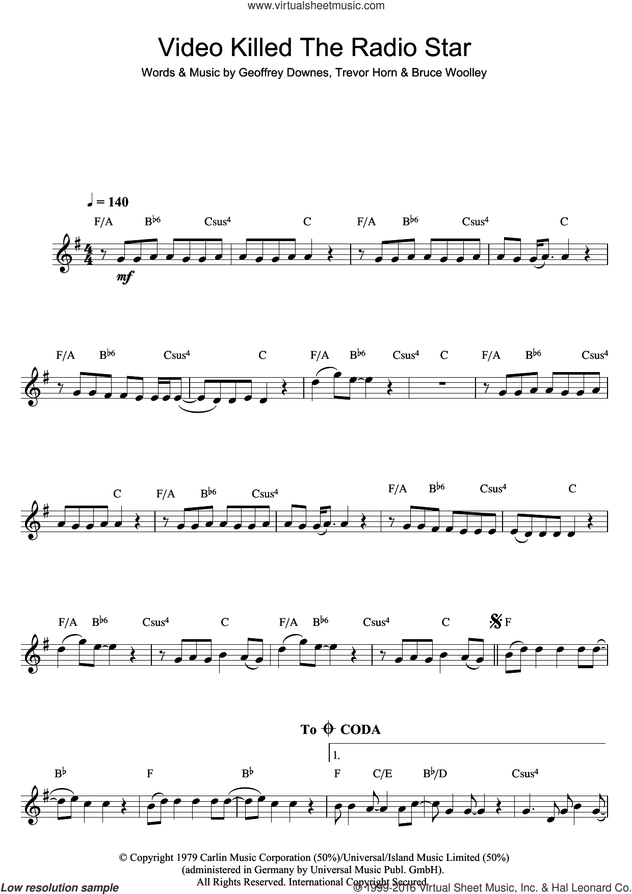 Video Killed The Radio Star sheet music for clarinet solo by Buggles, Bruce Woolley, Geoff Downes and Trevor Horn, intermediate skill level