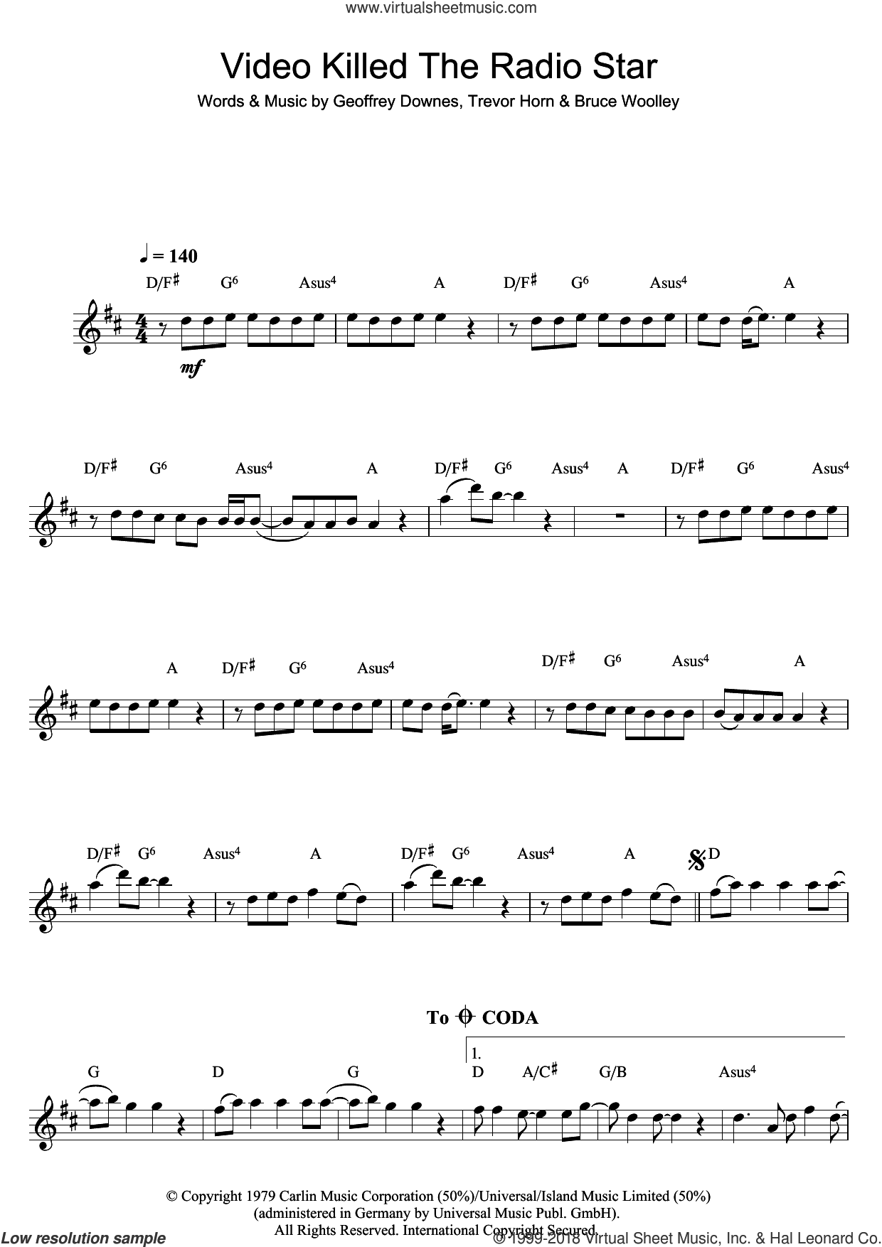 Video Killed The Radio Star sheet music for flute solo by The Buggles, Bruce Woolley, Geoff Downes and Trevor Horn, intermediate skill level