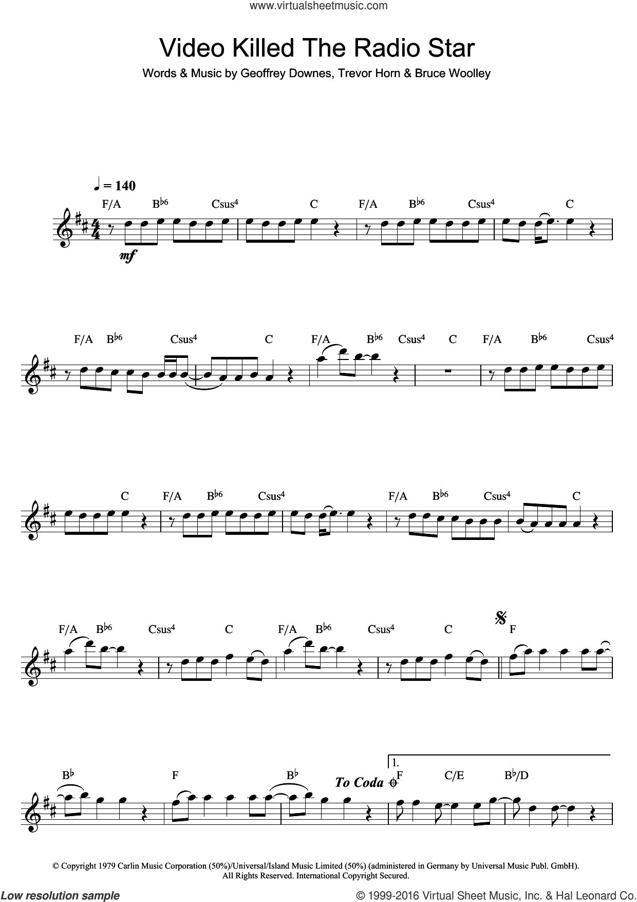 Video Killed The Radio Star sheet music for saxophone solo by Buggles, intermediate. Score Image Preview.