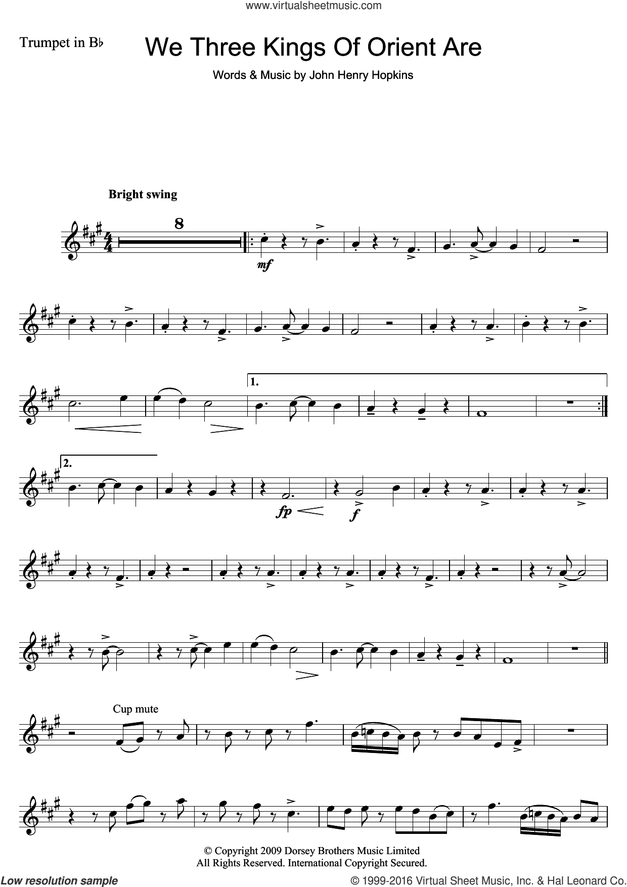 We Three Kings Of Orient Are sheet music for trumpet solo by John H. Hopkins, Jr. and Miscellaneous, intermediate skill level