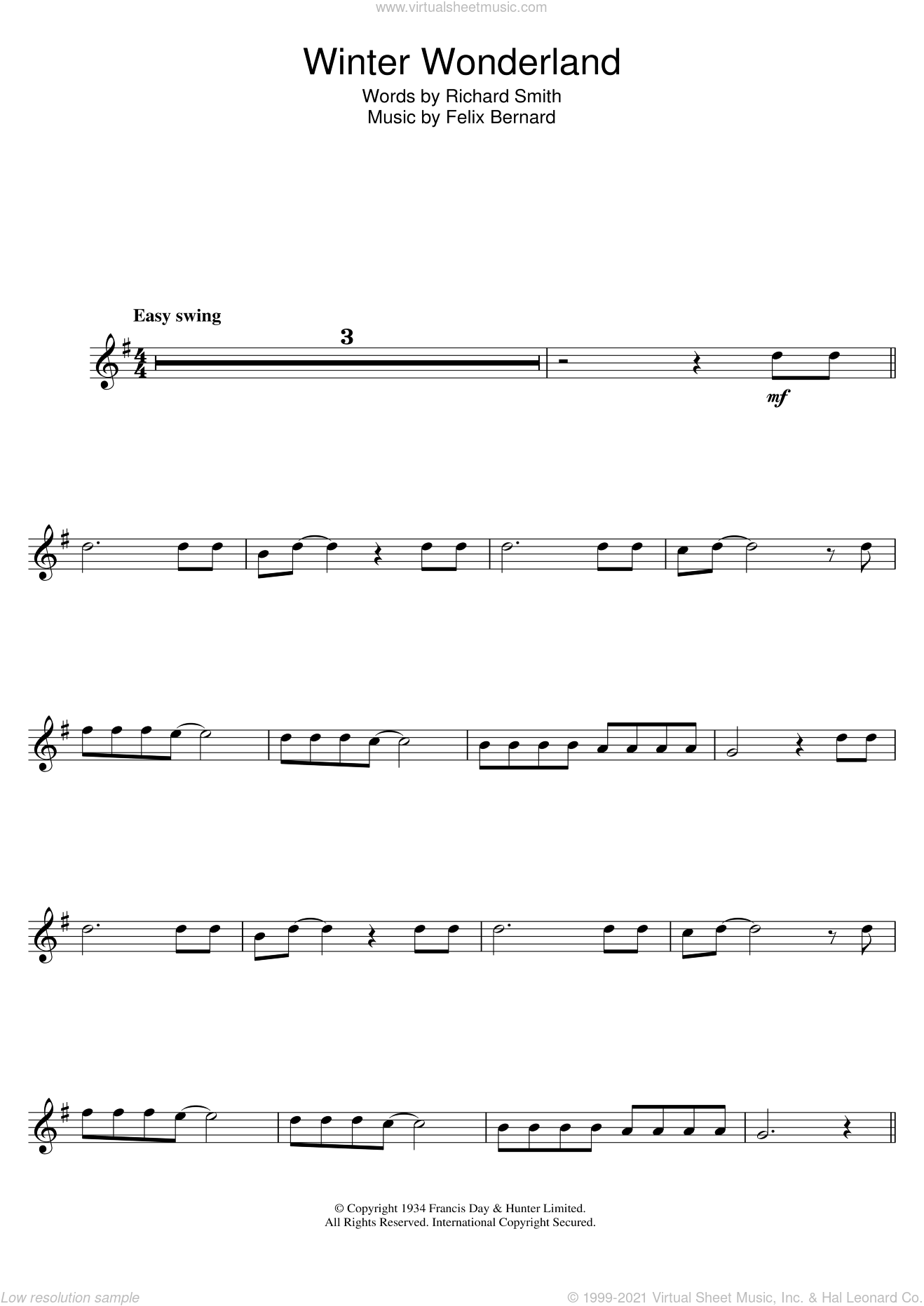 Winter Wonderland sheet music for tenor saxophone solo by Felix Bernard and Richard Smith, intermediate skill level