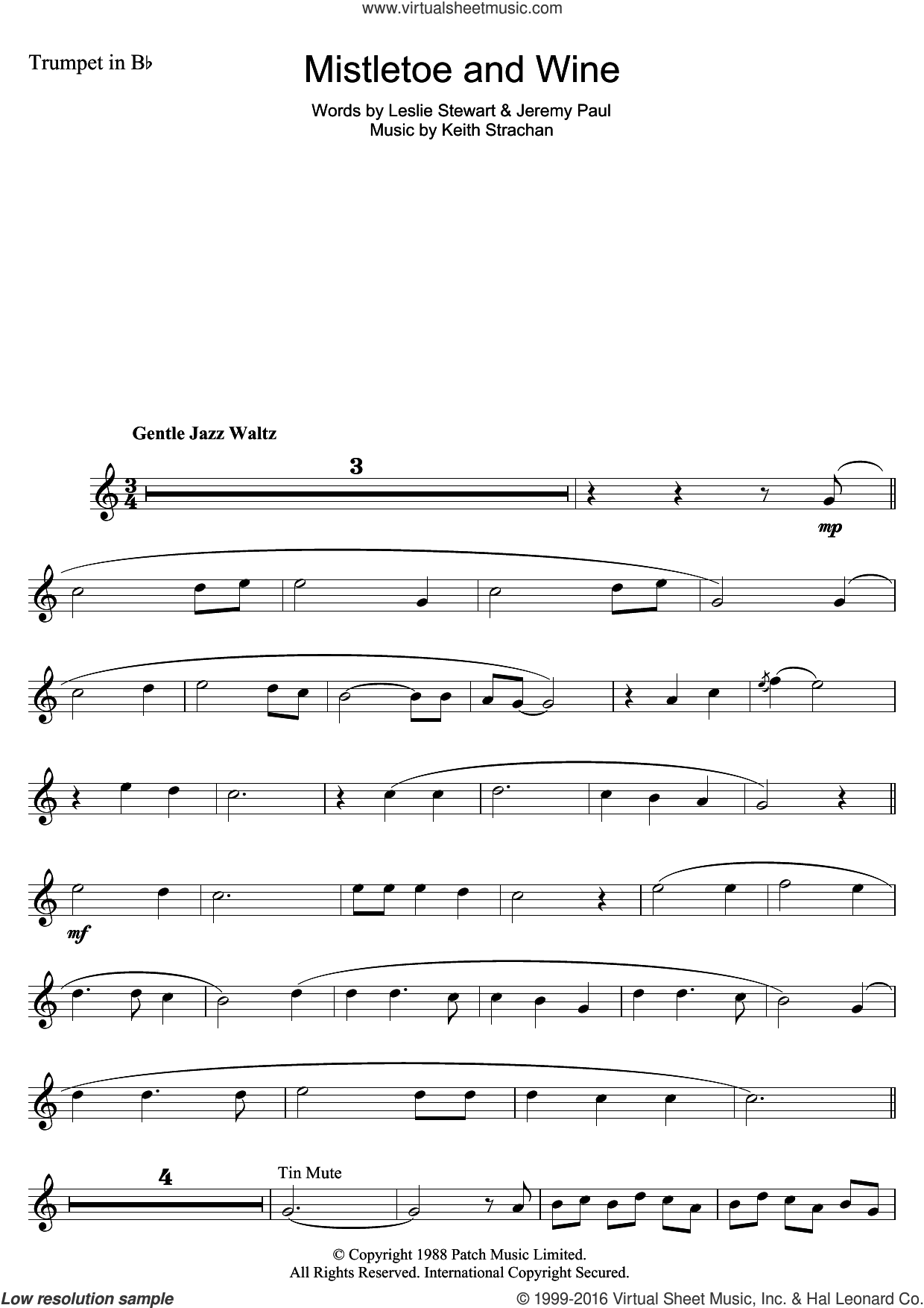 Mistletoe And Wine sheet music for trumpet solo by Cliff Richard, Jeremy Paul, Keith Strachan and Leslie Stewart, intermediate skill level