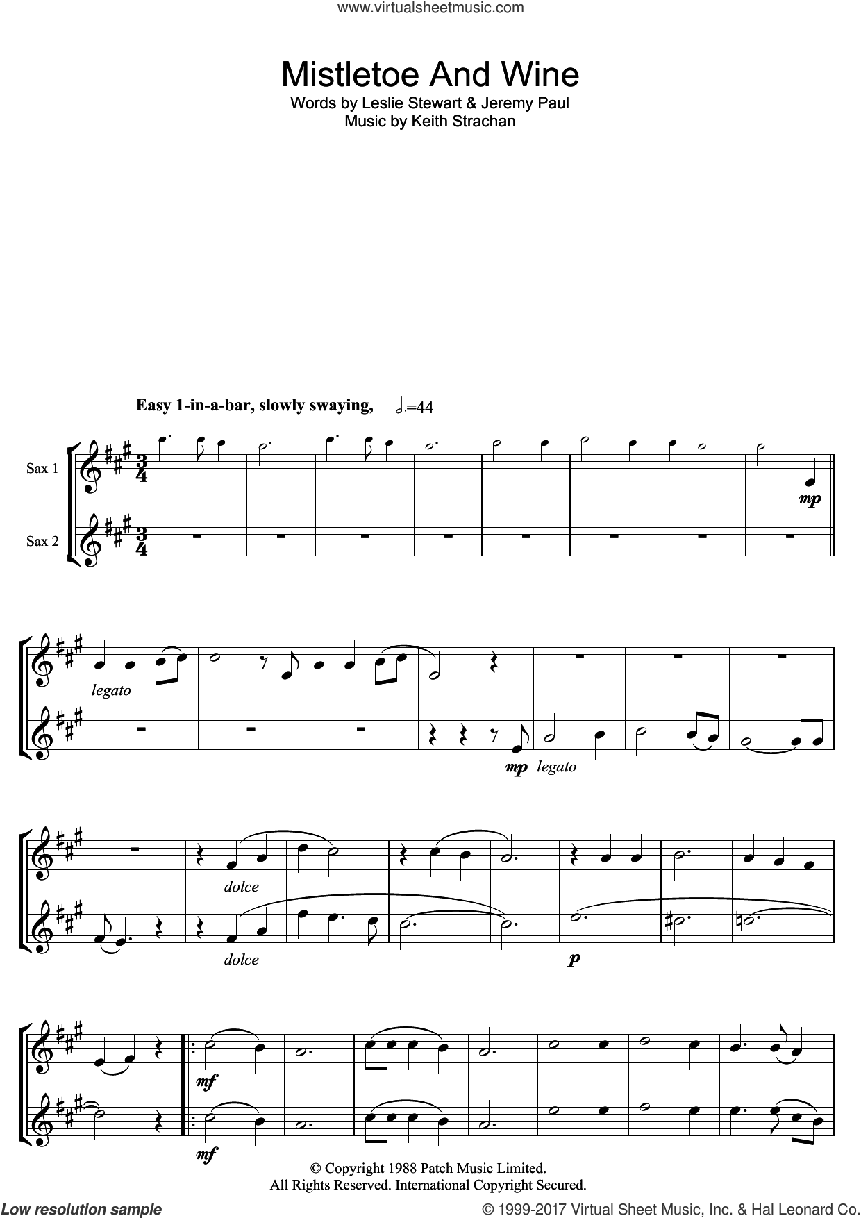 Mistletoe And Wine sheet music for tenor saxophone solo by Cliff Richard, Jeremy Paul, Keith Strachan and Leslie Stewart, intermediate. Score Image Preview.